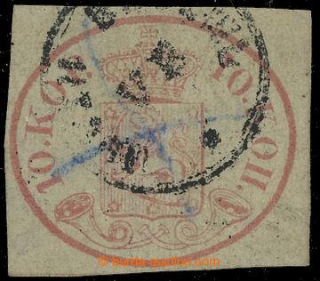 208508 - 1856 Mi.2z, Znak 10K světle karmínová, eng gestreiftes Papie