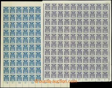 208539 -  Pof.143A, 144A, 5h modrá a fialová, 2x kompletní 100ks arch