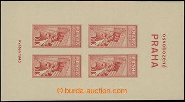 208558 - 1945 OSVOBOZENÁ PRAHA 10K, nevydaný nezoubkovaný aršík v čer