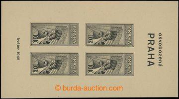 208561 - 1945 OSVOBOZENÁ PRAHA 10K, nevydaný nezoubkovaný aršík v čer