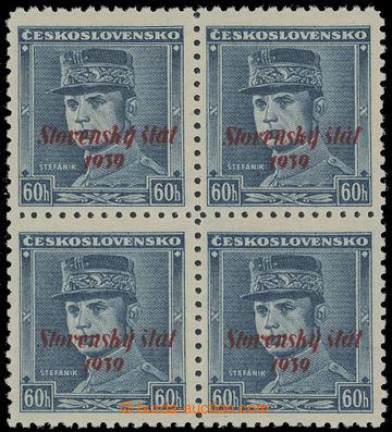 208608 - 1939 Sy.11, Modrý Štefánik 60h s přetiskem, ve 4-bloku; lehk