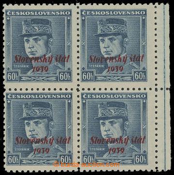 208610 - 1939 Sy.11, Modrý Štefánik 60h s přetiskem, ve 4-bloku s pra