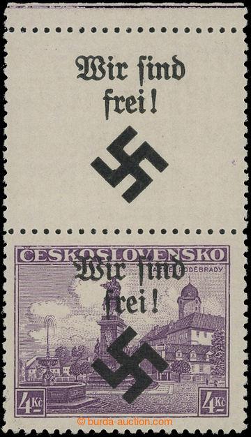208642 - 1939 MÄHRISCH OSTRAU / Mi.17LS, Poděbrady 4Kč fialová s horn