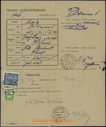 208648 - 1924 poštovní formulář Oznam nedoručitelnosti, vyfr. zn. HaV