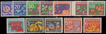 208744 - 1971 Pof.D92xb-103xb, Květy, kompletní série, papír oz, hodn