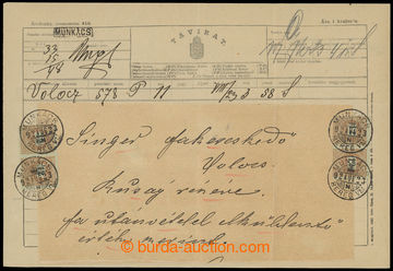 208850 - 1892 MUNKÁCS /  telegram vyfr. 4ks zn. Psaníčko 12f, DR MUNK
