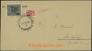 208875 - 1945 UŽHOROD  dopis vyfr. přetiskovými zn. NRZU, 1. vydání p