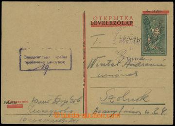 208883 - 1945 UŽHOROD / MUKAČEVO  přetisková celina NRZU, šikmý přeti