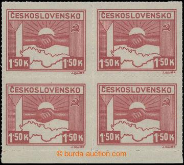 208897 -  Pof.353, 1,50K hnědokarmínová, 4-blok s dolním okrajem, smí