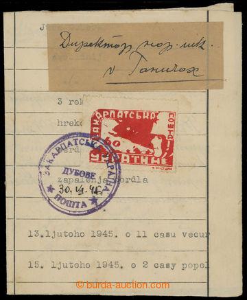 208913 - 1945 DUBOVÉ  skládaný dopis z již použitého formuláře vyfr.