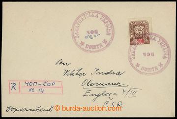 208927 - 1945 ČOP  filatelisticky motivovaný R-dopis adresovaný do Ol
