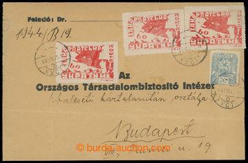 208933 - 1945 CHUST  dopis adresovaný do Maďarska, vyfr. zn. 1.a 2. d