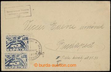 208934 - 1945 BEREHOVO  dopis adresovaný do Budapešti, vyfr. 2ks zn.