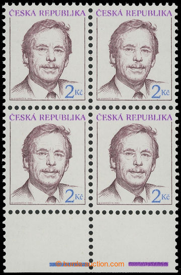 209012 - 1993 Pof.3, Havel 2CZK, the bottom block of four with omitte