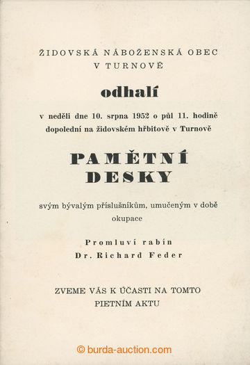 209055 - 1952 JUDAIKA / čb brožura k pietnímu aktu odhalení pamětní d