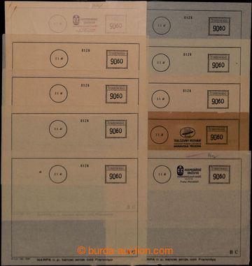 209058 - 1947 sestava 10ks frankotypů - formulářů, 9x na průsvitném p