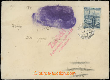 209091 - 1941 DOPRAVA NEPOVOLENA / dopis do Francie, vyfr. zn. Města