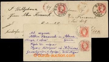 209098 - 1867 celinové obálky vydání 1867, sestava 3ks s hodnotou 5Kr