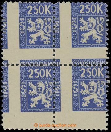 209127 - 1945 Pof.Sl5, Služební 2,50K modrá, 4-blok, výrazný posun sv