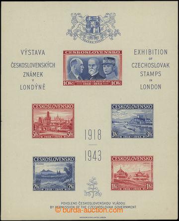 209130 - 1943 AS1B, Londýnský aršík NEZOUBKOVANÝ, rozměr 121x14