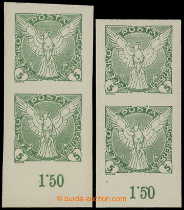 209135 - 1918 Pof.NV2RE, Sokol v letu, 2h zelená, sestava 2ks svislýc