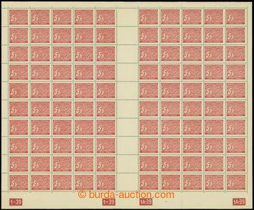 209143 - 1939 ARCHOVINA / Pof.DL1, hodnota 5h, kompletní 100ks arch (