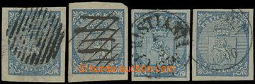 209173 - 1855 Mi.1, 4x Znak 4Sk, různé barvy, vzácné ruční znehodnoce