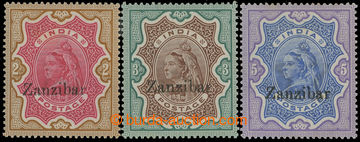 209176 - 1895 SG.19-21, Indian Victoria 2R, 3R, 5R with overprints ZA
