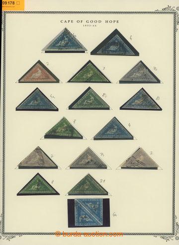 209178 - 1853-1864 sestava 15 Kapských trojúhelníků na listu ze staré