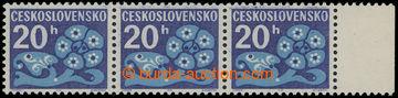 209246 - 1971 Pof.D93xb, Květy 20h, papír oz, vodorovná 3-páska s okr