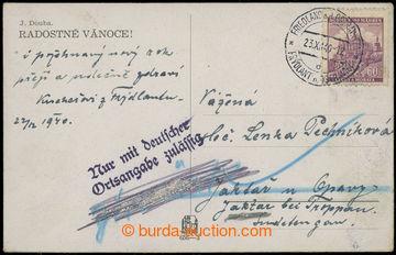 209283 - 1940 PŘÍDAVNÁ RAZÍTKA  pohlednice adresována do Sudet, kde m