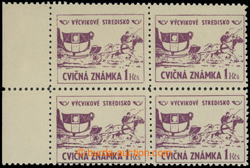 209289 - 1954 CVIČNÉ ZNÁMKY  Pof.4, hodnota 1Kčs fialová ve 4-bloku s