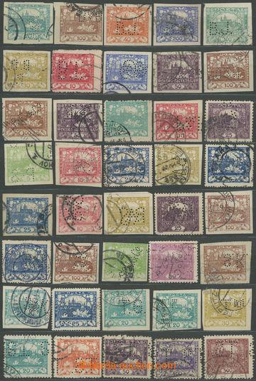 209307 - 1918-1920 sestava 40ks zn. Hradčany s různými perfiny, mj. M