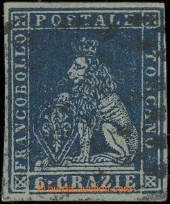 209316 - 1851 Sas.7a, Lev 6Cr indigově modrá; velmi pěkný kus, zk. Ma