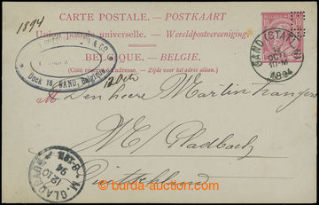 209317 - 1894 PERFIN E. B in printed stamp 10c on international PC, C