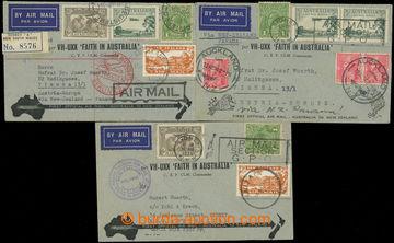 209352 - 1934 sestava 3 dopisů, přepravených 1. letem AUSTRÁLIE - N.