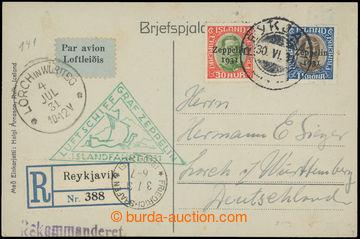 209362 - 1931 ZEPPELIN - ISLANDFAHRT, R- zaslaná pohlednice do Německ