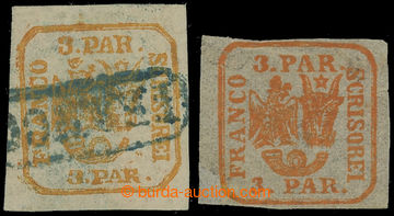 209400 - 1862 Mi.8I, 8II, Znak 3 Par žlutooranžová na obyčejném papír
