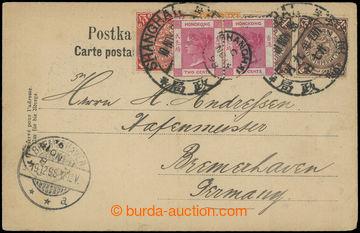 209477 - 1898 ŠANGHAI / pohlednice zaslaná do Německa přes Hongkong,