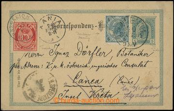 209488 - 1904 KRÉTA / KL FJ I. 5H zaslaný z Vídně na Krétu, dofr. zn.