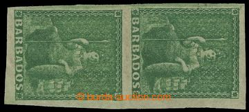 209544 - 1861 SG.22a, pair Britannia grass green IMPERFORATED; very f