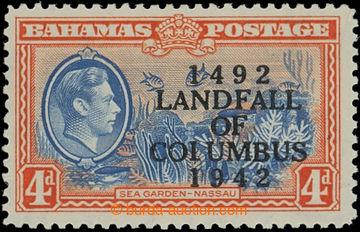 209570 - 1942 BAHAMY  SG.168a, JIří VI. 4P s přetiskem LANDFALL OF CO