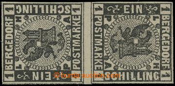 209573 - 1861 Mi.2KSZ, Znak 1Sch černá, PROTISMĚRNÝ PÁR S MEZIARŠÍM;