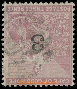 209594 - 1880 SG.37w, Alegorie 3P rosa s přetiskem 3, PŘEVRÁCENÁ PRŮS