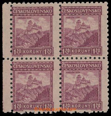 209672 - 1926 Pof.212VV, Hrady 1,20Kč fialová, krajový 4-blok, lev