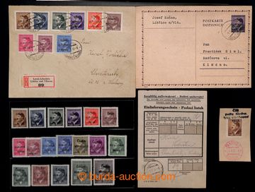 209681 - 1945 LIBČICE  3-řádkový černý přetisk ČESKO-/ SLOVENSKÁ/ POŠ