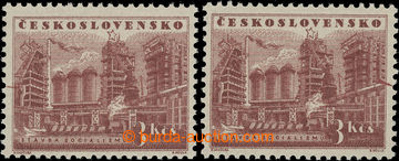 209713 - 1953 Pof.729, Stavby socialismu 3Kčs, 2ks s DV 43/1 a DV 44/