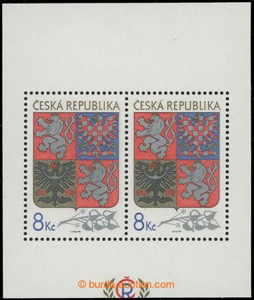 209742 - 1993 Pof.A10VV, aršík Velký státní znak, odlišný ořez; vprav