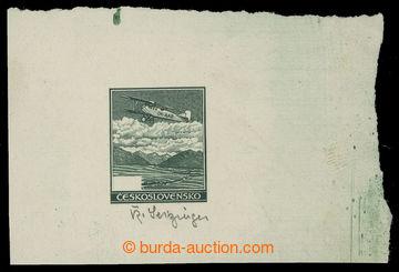 209759 - 1930 ZT  hodnoty 50h - otisk rytiny nepoužitého obrazu v zel