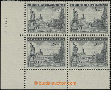 209779 - 1953 Pof.742, Karlův most 5Kčs, levý dolní 4-blok, dotisk z